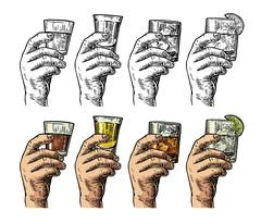 Male hand holding a glasses with tequila, rum, whiskey and ice cubes. Stock Illustration