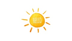 Cute cartoon sun painted in watercolor. Say hello. Hand drawn illustration Stock Footage