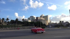 Road traffic at the Malecon front of the Hotel Nacional de Cuba. Havana. Stock Footage