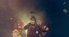 Venetian horror musicians. Venice masquerade. Stock Footage
