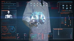 Doctor touching Brain, connect digital lines in digital display, Line net tunnel Stock Footage