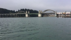 Siuslaw River Bridge from the Florence Marina Oregon Stock Footage