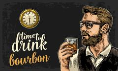 Hipster holding a glass of bourbon and antique pocket watch. Stock Illustration