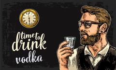Hipster holding a glass of vodka and antique pocket watch. Stock Illustration