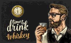 Hipster holding a glass of whiskey and antique pocket watch. Stock Illustration