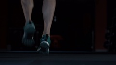 Foot athlete jumping rope closeup Stock Footage