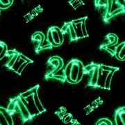 2017 with green sparklers on black background Kuvituskuvat