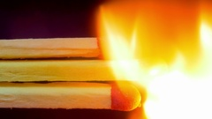 Burning Matches, Chain Reaction And Flame Stock Footage