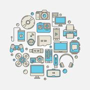 Consumer electronics and gadgets illustration Stock Illustration