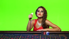 Tempting offer from a girl at the poker table Stock Footage