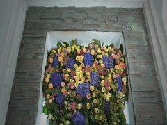 Composition with Different Flowers. Inside Window Interior Wedding Decoration Stock Footage
