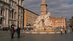 Rome, Piazza Navona, guests walk the streets in a beautiful sunny day Stock Footage