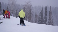 SHEREGESH, RUSSIA a group of people at a ski resort in the Stock Footage