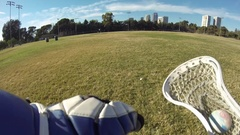POV of a young man playing lacrosse. Stock Footage