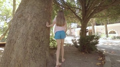 Nature-loving white girl hugging an old sycamore. The Estate Of Pushkin. Gurzuf Stock Footage
