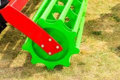 Detailed closeup of disc harrow agricultural machinery Stock Photos