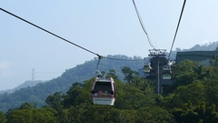 View Through Windows Of Ropeway Cabin Taipei Stock Footage