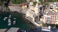 Vernazza center of a small town in Liguria, Italy Stock Footage