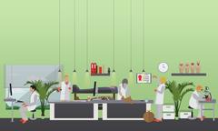 Vector illustration of archaeological laboratory, people at work and equipment Stock Illustration