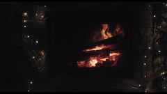 Fire wood burns in a fireplace Stock Footage