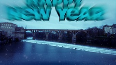 Happy New Year - Winter Landscape With Bridge Above Frozen River Stock Footage