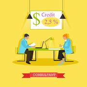 Vector illustration of consultant advising customer about bank products Stock Illustration
