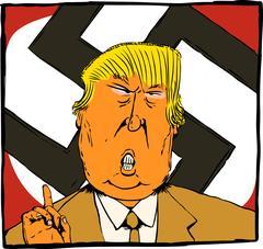 Caricature of Donald Trump as Orange Colored Nazi Stock Illustration