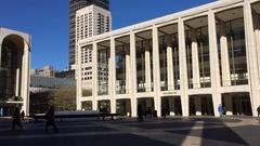 DX daytime Establishing timelapse shot of famed arts building Lincoln Center in Stock Footage