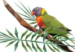 Abstract Low Poly Parrot, Rainbow lorikeet on Branch - Vector Illustration Piirros