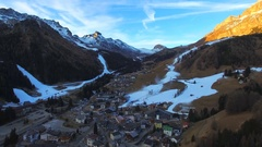 Aerial View of Arabba Town Valley in Dolomites (Alps) Mountains in Winter, Italy Stock Footage