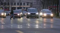 4K Munich Rush hour Traffic pedestrian commuters commuting crossing zebra road Stock Footage