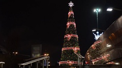 Christmas tree in Warsaw, near the train station. Stock Footage