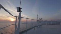 Antennas on top of ship, sunset Stock Footage