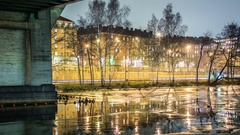 Time Lapse of frozen canal at night Stock Footage