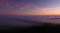 View over a sea of fog and clouds Stock Footage