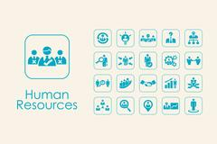 Set of human resources simple icons Stock Illustration