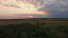 Cultivated field on a plain, apple orchard and wheat field at sunset Stock Footage