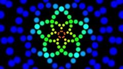 Multicolored Pentagram Flower Pulsing Mandala Motion Background Loop Stock Footage