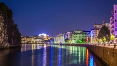 Time Lapse of city river at night. Stockholm Ericsson Globe in the background Stock Footage