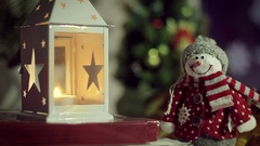 Christmas decoration with snowman, candle, Christmas tree Stock Footage