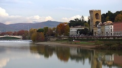 River Arno and Florence, Italy. Stock Footage