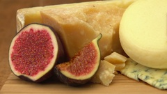 French of cheese on a wooden table Stock Footage