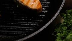 Preparing salmon fillets stock footage food Stock Footage