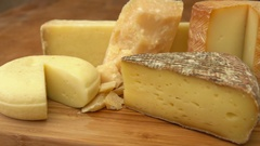 French of cheese on a wooden table. Stock Footage