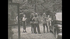 Vintage 16mm film, 1943 teen girls at cabin in woods, ball toss, being kids Stock Footage