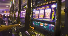 Row of slot machines. Stock Footage