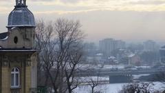 View of winter Krakow, Poland on Vistula River Stock Footage
