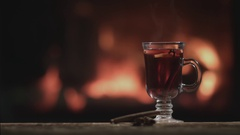 Mulled wine fireplace Stock Footage