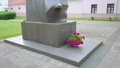 Monument of Jonas Maironis, Kaunas, Lithuania Stock Footage