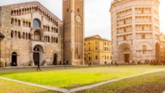 Duomo and Battistero in Parma, Italy Stock Footage